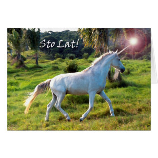 Happy Birthday in Polish, Magical Unicorn Card