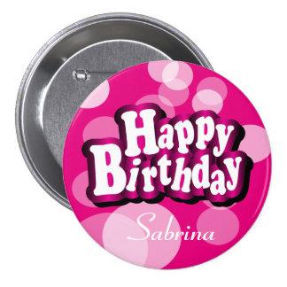 Happy Birthday in Pretty Pink Bokeh Pinback Button