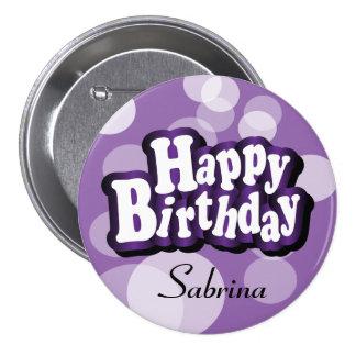 Happy Birthday in Purple Bokeh Button