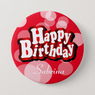 Happy Birthday in Red Bokeh Pinback Button