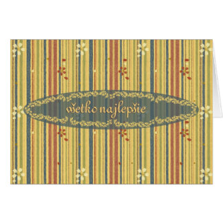 Happy Birthday in Slovak, Stripes and Flowers Greeting Card