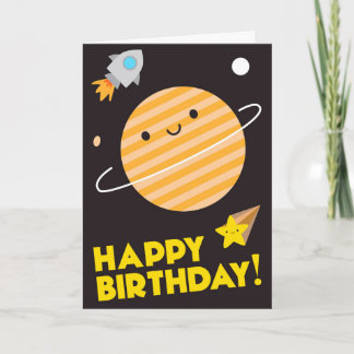 Happy Birthday In Space - Kawaii Planet Card