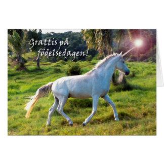 Happy Birthday in Swedish, Unicorn Gallop Greeting Card
