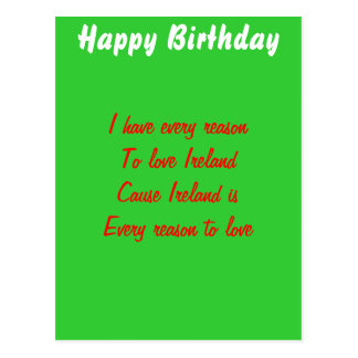 Happy birthday ireland postcard