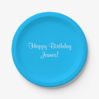 Happy Birthday (James) Name Here Paper Plate