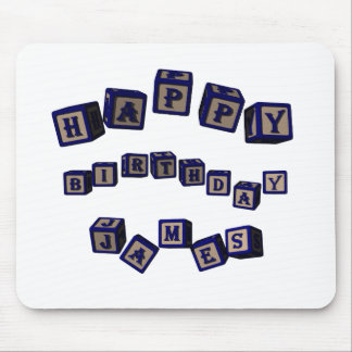 Happy Birthday James toy blocks in blue. Mouse Pad