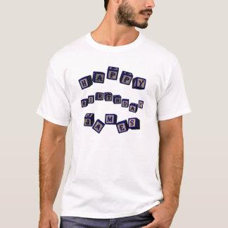 Happy Birthday James toy blocks in blue. T-Shirt