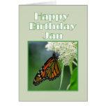 Happy Birthday Jan Monarch Butterfly Card