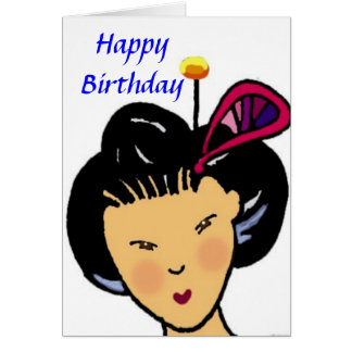 Happy Birthday Japanese girl Greeting Card