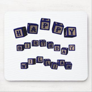 Happy Birthday Jennifer toy blocks in blue. Mouse Pad