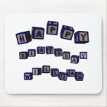 Happy Birthday Jennifer toy blocks in blue. Mouse Pads