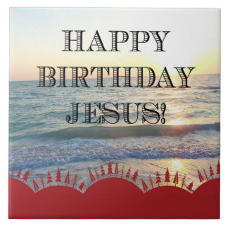 Happy Birthday Jesus and Red Christmas Trees Tile