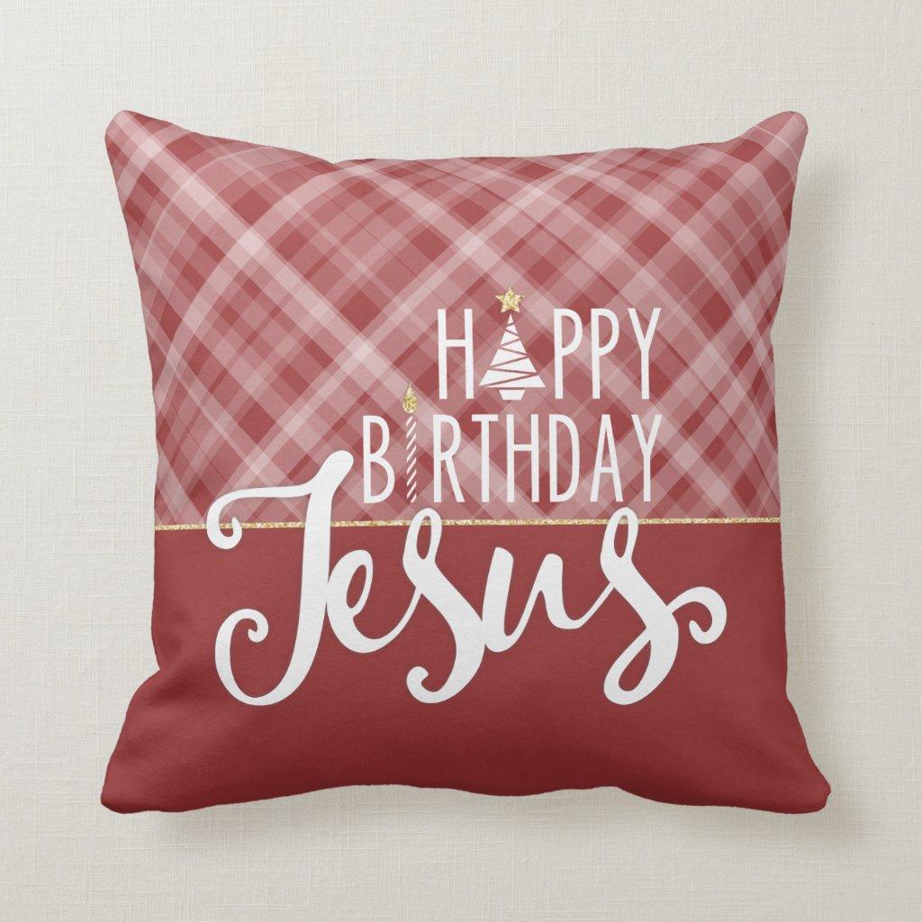 Happy Birthday Jesus Christmas Pillow