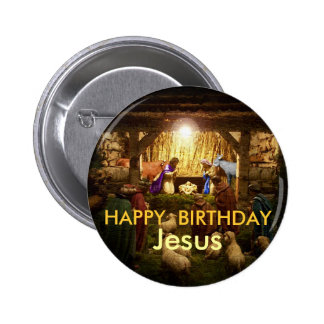 Happy Birthday, Jesus Nativity Scene Button