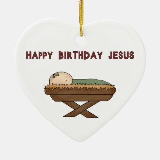 Happy BIrthday Jesus Double-Sided Heart Ceramic Christmas Ornament