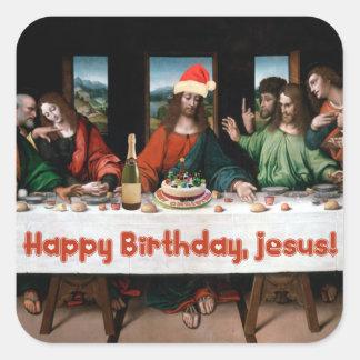 Happy Birthday, Jesus! Square Stickers