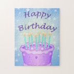 "Happy Birthday Jigsaw Puzzle<br><div class=""desc"">Happy Birthday with purple cake,  blue candles and stars</div>"