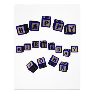 Happy Birthday John toy blocks in blue. Letterhead