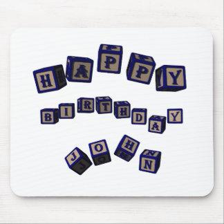 Happy Birthday John toy blocks in blue. Mouse Pad