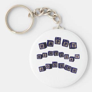 Happy Birthday Joseph toy blocks in blue. Basic Round Button Keychain