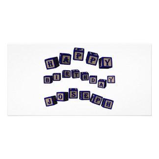 Happy Birthday Joseph toy blocks in blue. Photo Cards