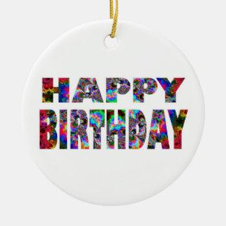 Happy Birthday Kaleidoscope Ceramic Ornament