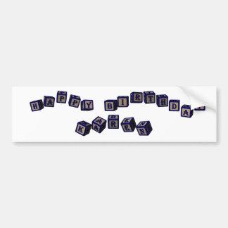 Happy Birthday Karen toy blocks in blue. Bumper Sticker