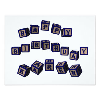 Happy Birthday Karen toy blocks in blue. Card