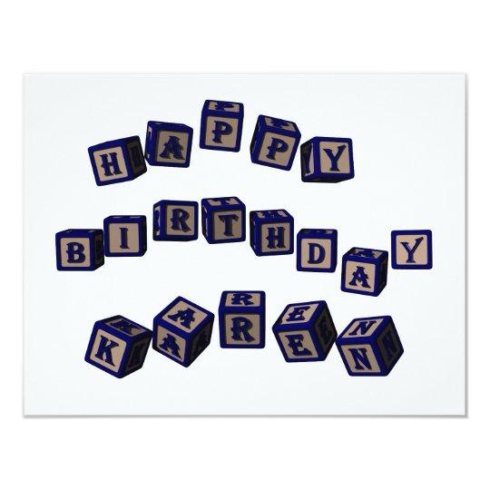Happy Birthday Karen toy blocks in blue. Card