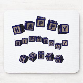 Happy Birthday Karen toy blocks in blue. Mouse Pad