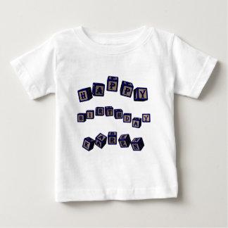 Happy Birthday Karen toy blocks in blue. Shirt