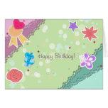 Happy Birthday - Kawaii Heart Star Flowers Present Cards