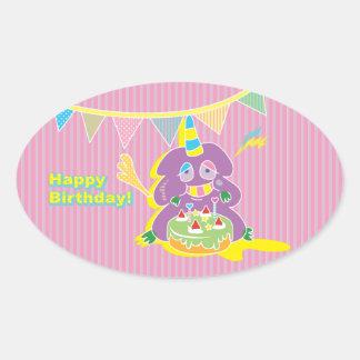 Happy Birthday Kawaii Monster cake. Oval Sticker