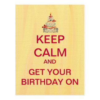 Happy Birthday Keep Calm Custom Postcard