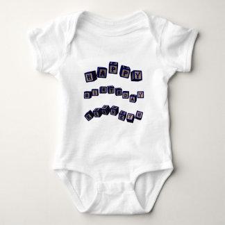 Happy Birthday Kenneth toy blocks in blue Baby Bodysuit