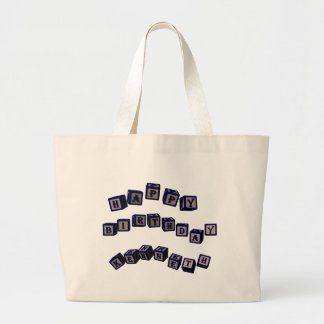 Happy Birthday Kenneth toy blocks in blue Jumbo Tote Bag