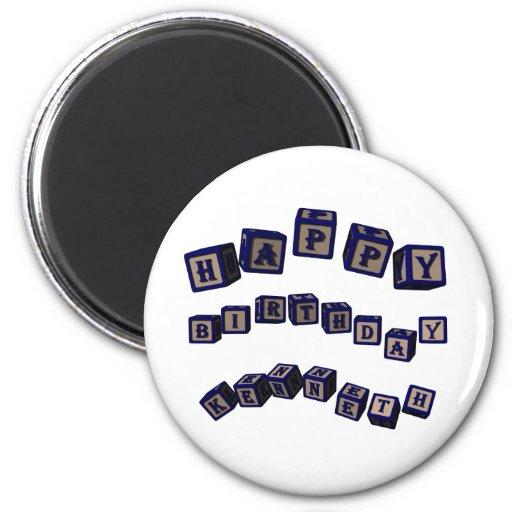 Happy Birthday Kenneth toy blocks in blue Fridge Magnet