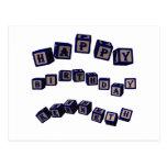 Happy Birthday Kenneth toy blocks in blue Postcard