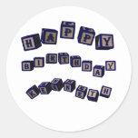 Happy Birthday Kenneth toy blocks in blue Classic Round Sticker