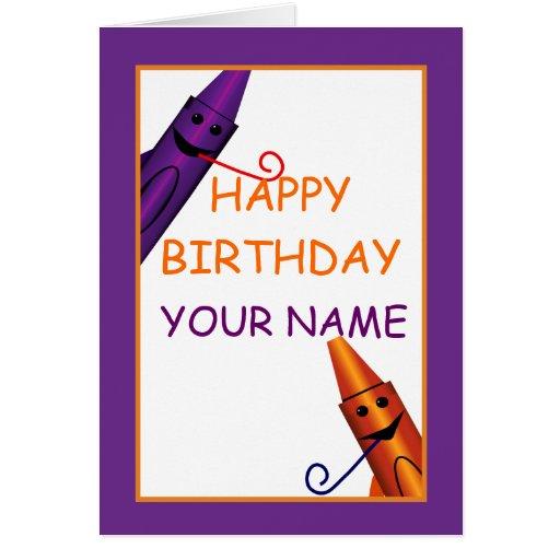 Happy Birthday Kids Name Crayon Design Greeting Greeting Cards