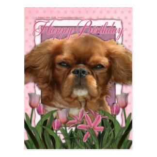 Happy Birthday - King Charles Cavalier - Ruby Postcards