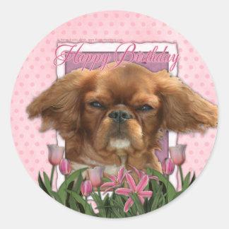 Happy Birthday - King Charles Cavalier - Ruby Sticker