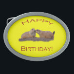 """Happy Birthday Kiss Oval Belt Buckle<br><div class=""""desc"""">Celebrate Happy Birthday with a Kiss... .Using amazing, unique, and high-quality images of wildlife and nature, WorldDesign is dedicated to creating fun and beautiful products for people to enjoy, share, and promote as gifts. We are a Zazzle Elite ProSeller and own the copyright to all the images presented and ALL...</div>"""