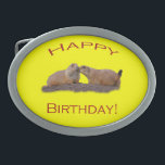 "Happy Birthday Kiss Oval Belt Buckle<br><div class=""desc"">Celebrate Happy Birthday with a Kiss... .Using amazing, unique, and high-quality images of wildlife and nature, WorldDesign is dedicated to creating fun and beautiful products for people to enjoy, share, and promote as gifts. We are a Zazzle Elite ProSeller and own the copyright to all the images presented and ALL...</div>"