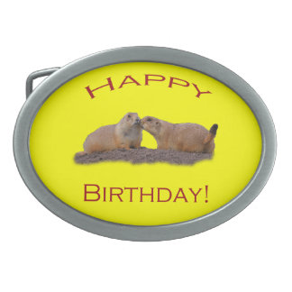 Happy Birthday Kiss Oval Belt Buckle