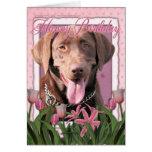 Happy Birthday - Labrador - Chocolate Greeting Card