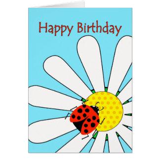 Happy Birthday, Ladybug on White Daisy Flower Card