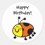 Happy Birthday! (ladybug) Round Sticker