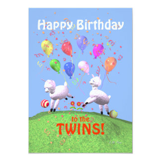 Happy Birthday Lambs for Twins Greeting Card