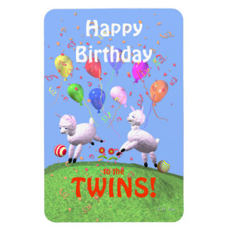 Happy Birthday Lambs for Twins Magnet